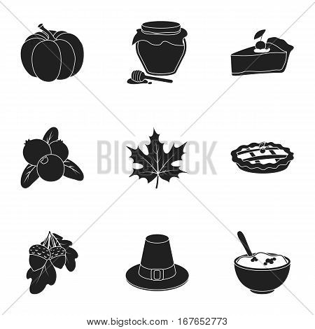 Canadian Thanksgiving Day set icons in black style. Big collection of canadian Thanksgiving Day vector symbol stock