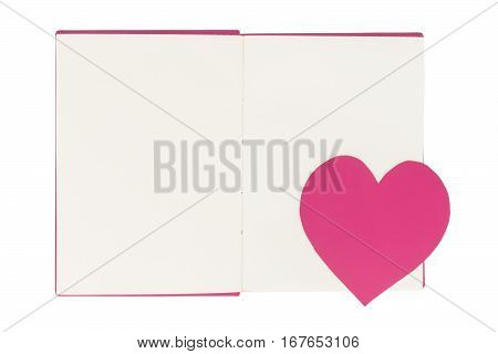 Paper heart bookmark on blank open book isolated on white background