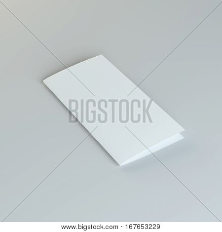 Lying blank two fold paper brochure on gray background. 3D Illustration