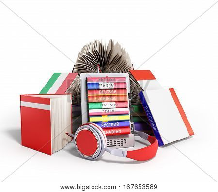 E-book Audio Learning Languages And Books 3D Render On White