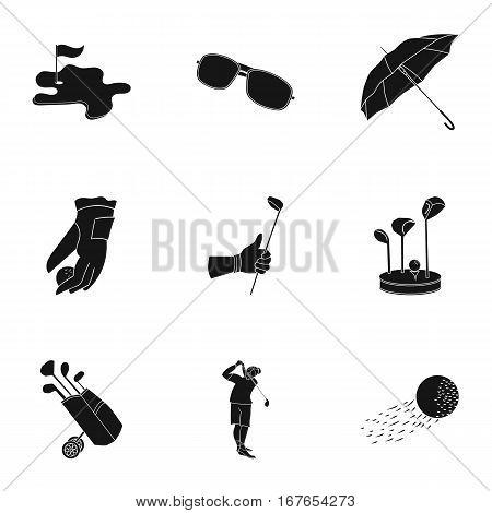 Golf club set icons in black design. Big collection of golf club vector symbol stock illustration