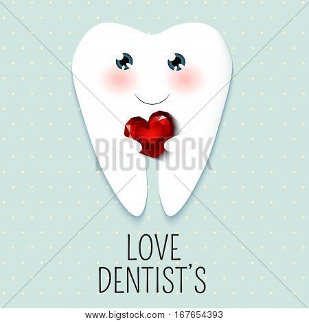 Cute greeting card Happy Dentist Day as funny smiling cartoon character of tooth with diamond rubin heart. blue shabby chic background