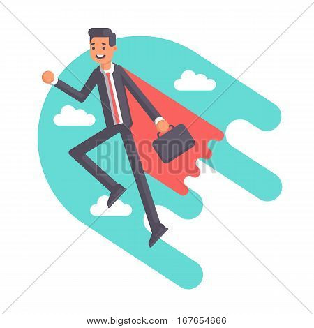 Super businessman in a red cape with suitcase flying on the blue sky background and clouds. Funny employee of the superhero flies up. Vector flat illustration. Business concept's power and skill