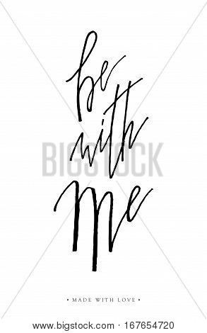 Be With Me Greeting Card Calligraphy.