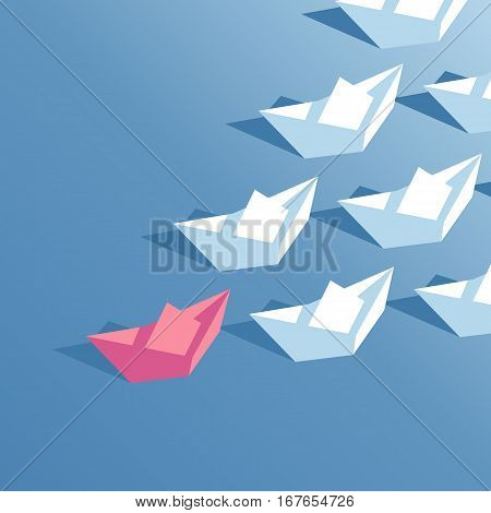Red paper boat floating at the head of a group of white paper boats isometric illustration. business concept leader and team