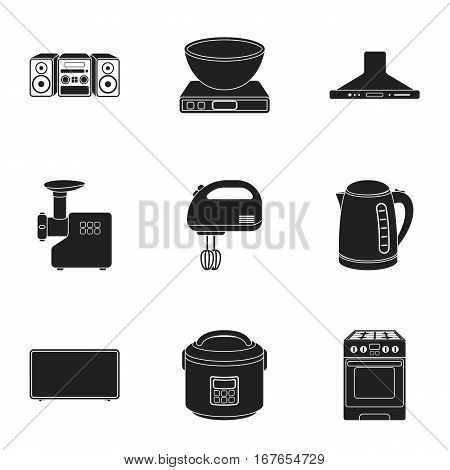 Household appliances set icons in black style. Big collection of household appliances vector symbol stock