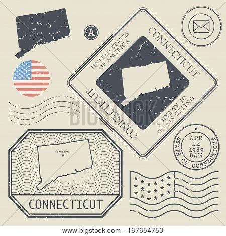 Retro vintage postage stamps set Connecticut United States theme vector illustration