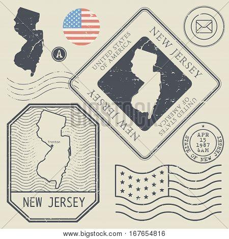 Retro vintage postage stamps set New Jersey United States theme vector illustration