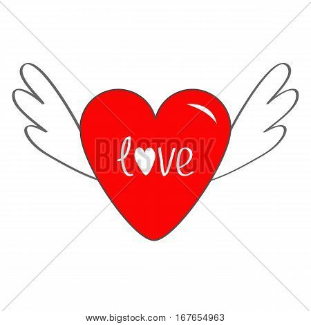 Red heart with wings. Cute cartoon contour sign symbol. Winged shining angel hearts. Flat design style. Love greeting card. Isolated. White background. Vector illustration