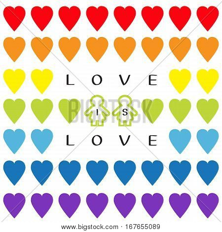 Love is love text. Rainbow heart set. Gay marriage Pride symbol Two contour woman sign Seamless Pattern. Lgbt sign symbol. White background. Isolated. Flat design. Vector illustration