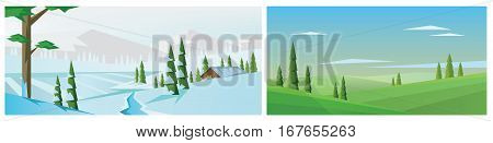 Digital vector abstract background collection set with winter pines, snow and ice river and clouds, village house, mountains, flat triangle style