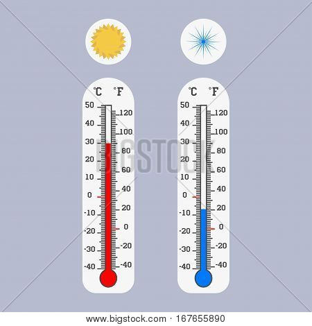 Meteorology thermometers icon Celsius and Fahrenheit Measuring hot and cold temperature Vector illustration