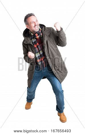 Full Body Man Posing Being Successful Wearing Winter Casual Clothes