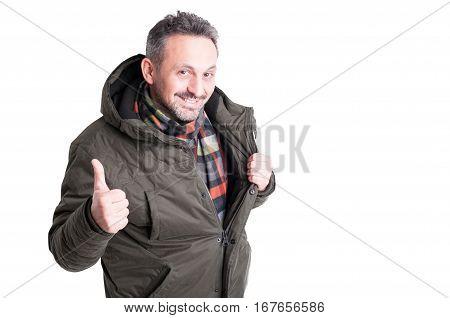 Male Posing Wearing Winter Jacket Showing Like Gesture