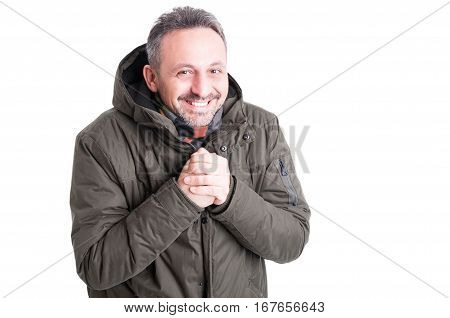 Man Posing Like Being Cold Wearing Winter Casual Clothes