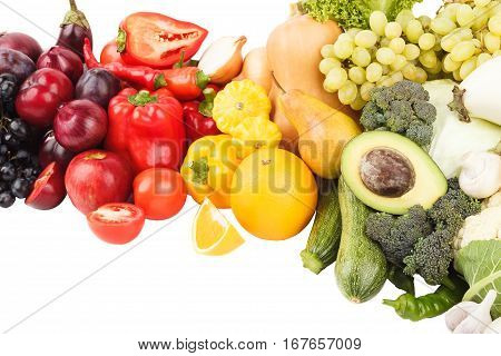 Set of multicolored fresh raw vegetables and fruits isolated
