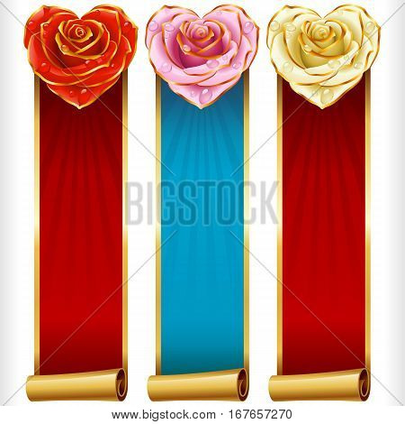 Cute Rose Hearts and Swirl Ribbons vertical Banners set. Red, pink, white flowers and golden decoration. Valentines Day, Wedding celebration or Romantic Lovely Frames Design isolated on white background. Vector Illustration