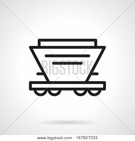 Railroad transport symbol. Hopper rail-car for transportation of bulk freights - seed, fertilizer and others. Black simple line design vector icon.