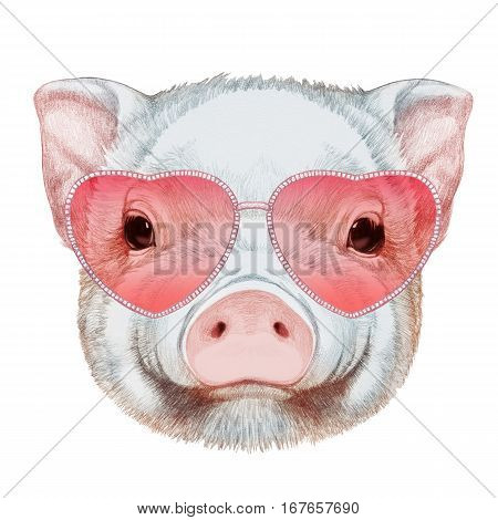 Piggy in Love! Portrait of Piggy with heart shaped sunglasses.  Hand-drawn illustration, digitally colored.