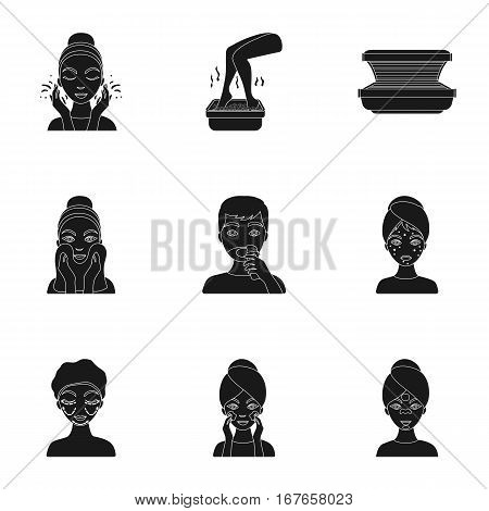 Skin care set icons in black style. Big collection of skin care vector symbol stock