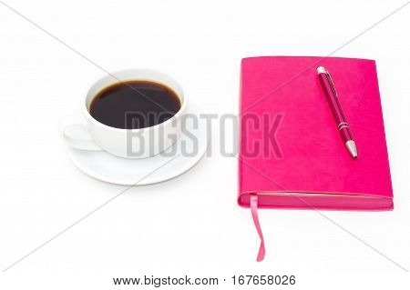 Coffee Cup, Pink Diary And Pen On A White Background. Top View.