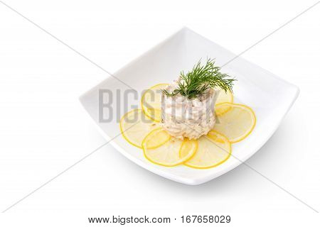 The Seafood salad on a brown background
