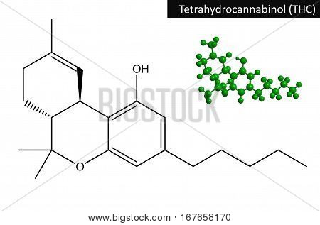 Molecular structure of Tetrahydrocannabinol (THC). The compound is the principal psychoactive constituent (or cannabinoid) of cannabis 3D rendering