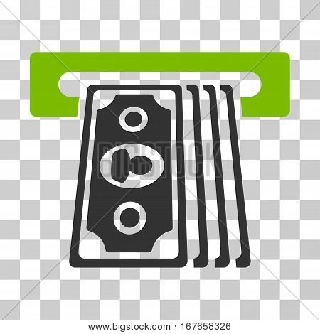 Cashpoint Terminal icon. Vector illustration style is flat iconic bicolor symbol eco green and gray colors transparent background. Designed for web and software interfaces.