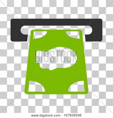 Cashpoint icon. Vector illustration style is flat iconic bicolor symbol eco green and gray colors transparent background. Designed for web and software interfaces.