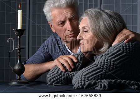 senior couple husband and wife in bad mood
