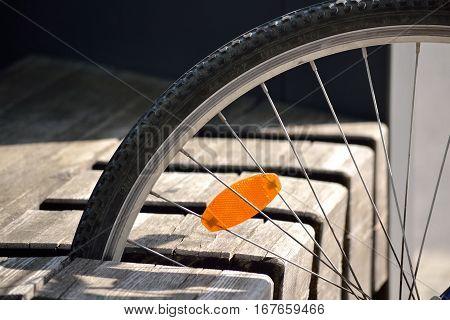 Bicycle storage space in wood - Detail of bicycle spoke