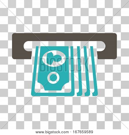 ATM Insert Cash icon. Vector illustration style is flat iconic bicolor symbol grey and cyan colors transparent background. Designed for web and software interfaces.