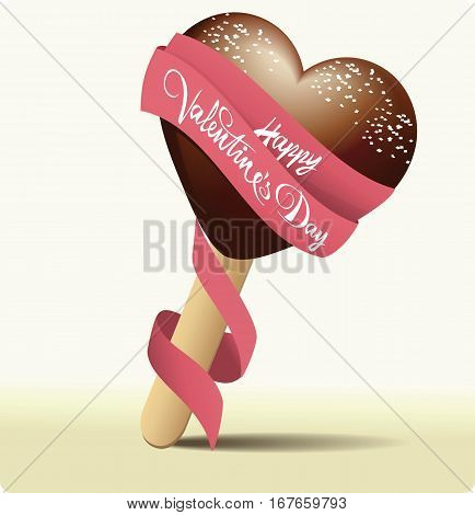 Ice-cream Valentines heart with best wishes - vector illustration