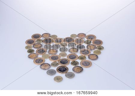 Turkish Lira Coinsform A Heart Shape