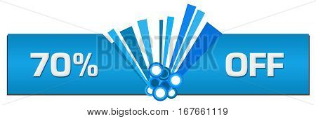 Seventy percent off text written over abstract blue background.