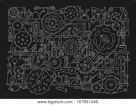 Sketch of people teamwork gears production. Doodle cartoon mechanism with machinery and cogwheels. Hand drawn vector illustration for business and industry design isolated on black.