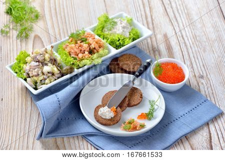 Mixed cold fish snack with smoked salmon tartar, trout mousse, caviar and salted herring salad, served as an appetizer with round pumpernickel bread slices