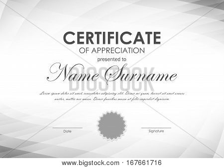 Certificate of appreciation template with gray geometric surface tech background and seal. Vector illustration