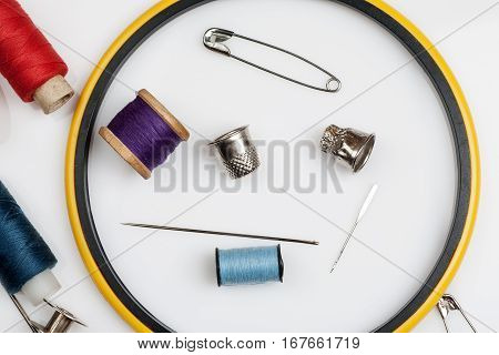 Close-up Shot Of Items For Sewing On A White Background, Top View