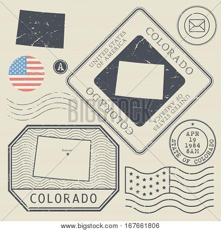 Retro vintage postage stamps set Colorado United States theme vector illustration