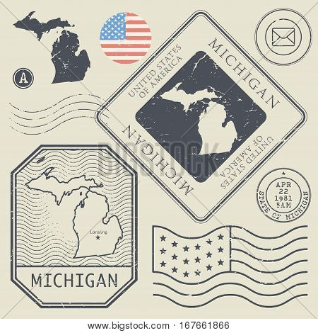Retro vintage postage stamps set Michigan United States theme vector illustration