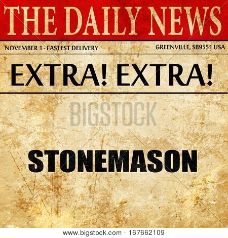 stonemason, newspaper article text