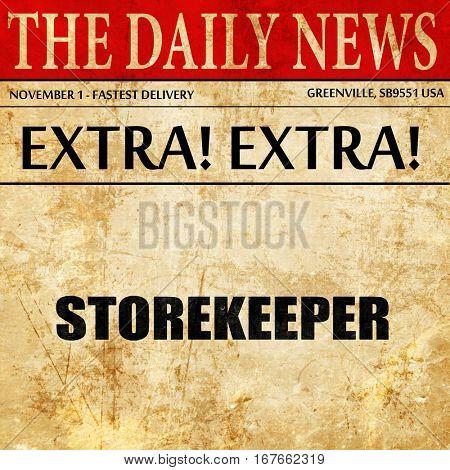 storekeeper, newspaper article text