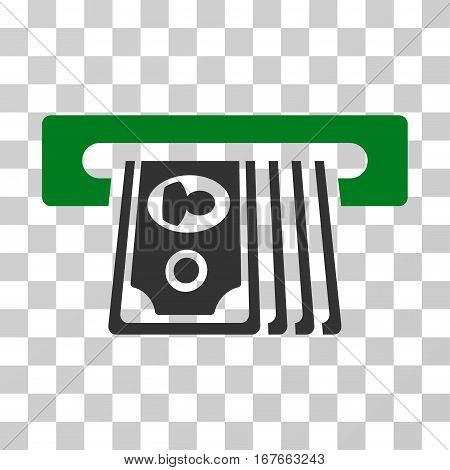 ATM Insert Cash icon. Vector illustration style is flat iconic bicolor symbol green and gray colors transparent background. Designed for web and software interfaces.