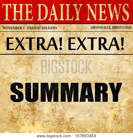 summary, newspaper article text