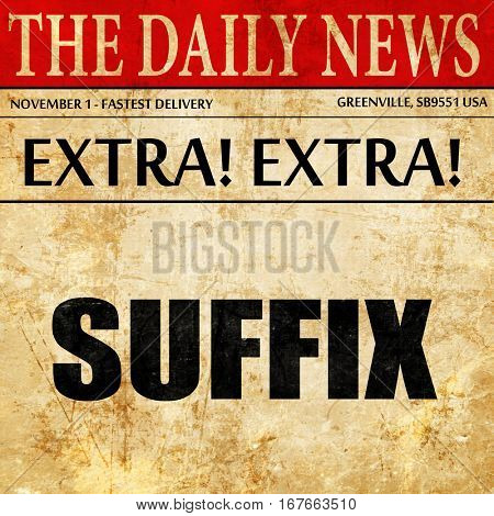 suffix, newspaper article text