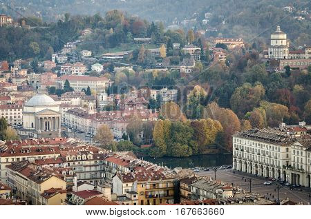 Turin aerial view on Piazza Vittorio and Gran Madre