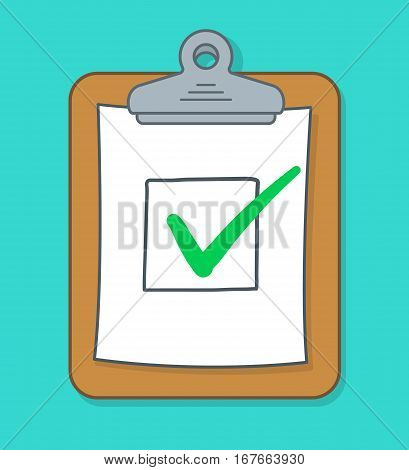 Cartoon check box with red check marks on clipboard vector illustration