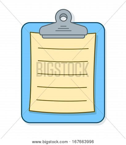 Colorful blue clipboard with page of blank lined paper for your list or message vector cartoon illustration on white