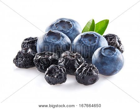 Blueberry with leaves fresh and dried